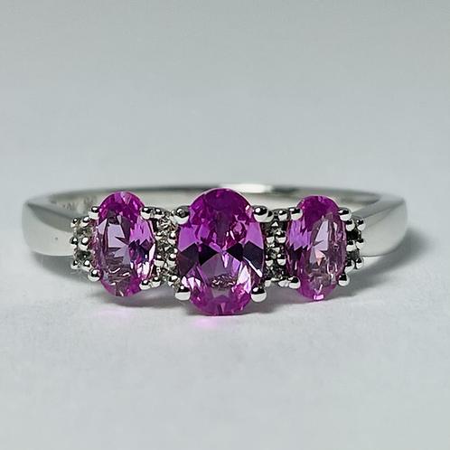 10kt White Gold Pink Topaz & Diamond Ring