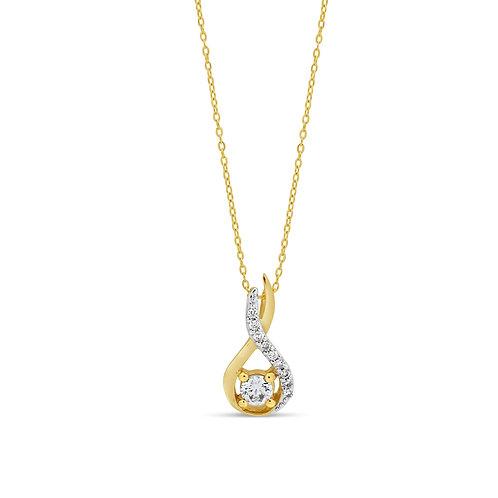 10K YG 0.13CT Diamond Top Open Figure 8 Pendant with Chain