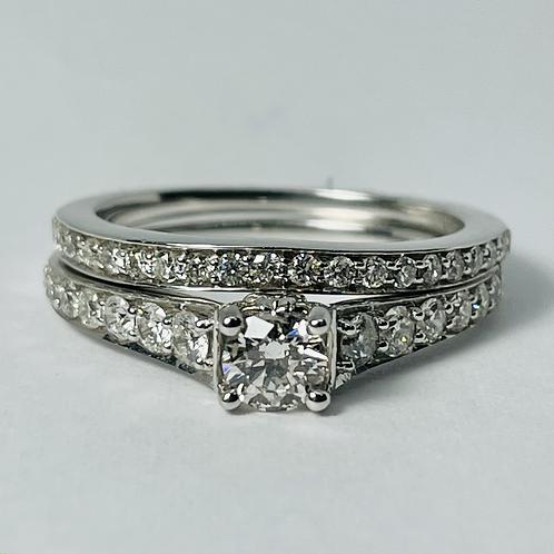 14kt White Gold Diamond Engagement Ring Set