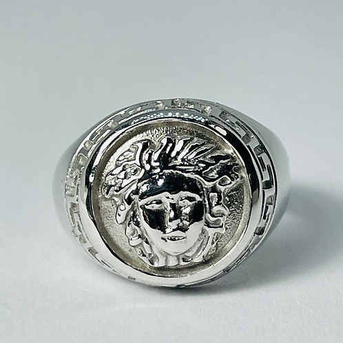 10kt White Gold Medusa Signet Ring
