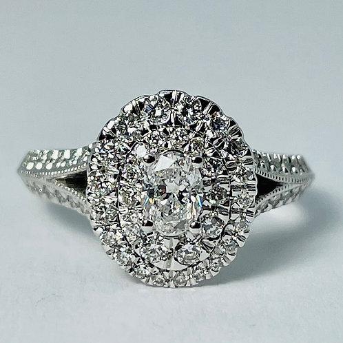 14kt White Gold Oval Diamond Ring 1.00ctw