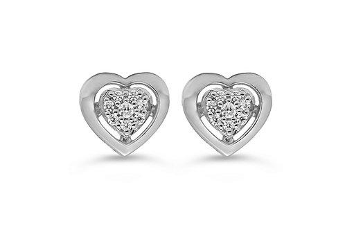 10K WG 0.05CT Diamond Pave Heart Stud Earrings