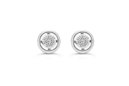 10K WG 0.05CT Diamond Pave Circle Stud Earrings