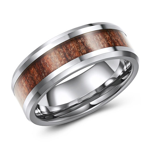 8mm wide tungsten band with wood grain inlay