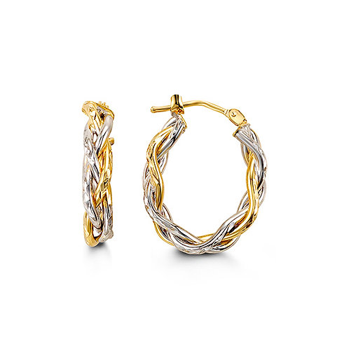10k gold twisted wire hoops - 1001b