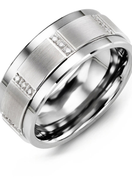 Men's Vertical Trio Diamond Wedding Ring