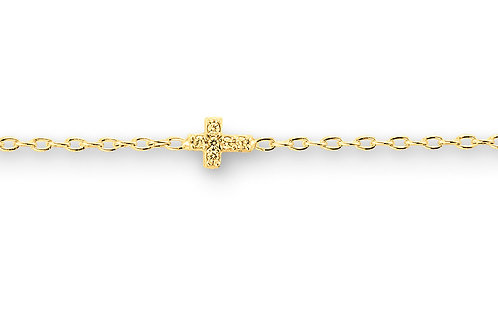 10kt Gold Baby Bella CZ Cross Bracelet