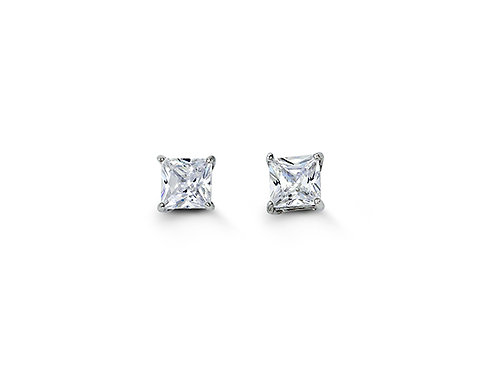 Sterling Silver Square CZ Studs 4mm