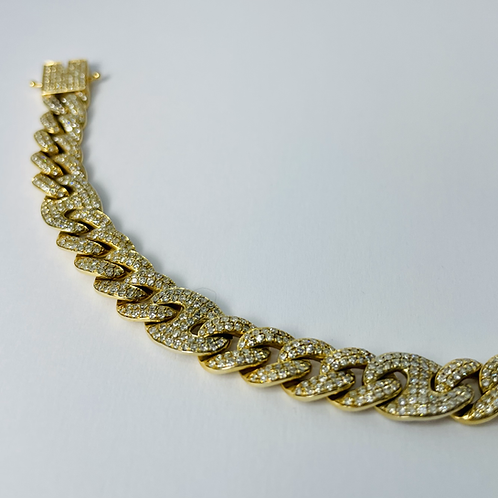 10kt Gold Miami Mixed Link Diamond Bracelet