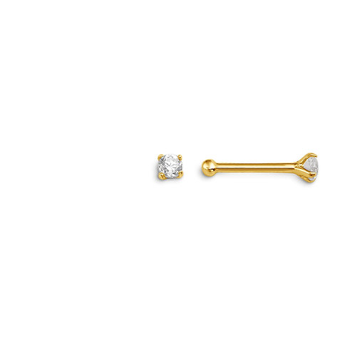 14kt Gold CZ Nose Pin