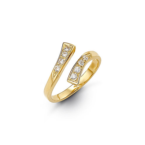 10kt Gold Toe Ring with CZ, Twist Design
