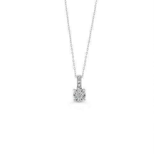10K WG 0.10CT Diamond Cluster Pendant with Chain