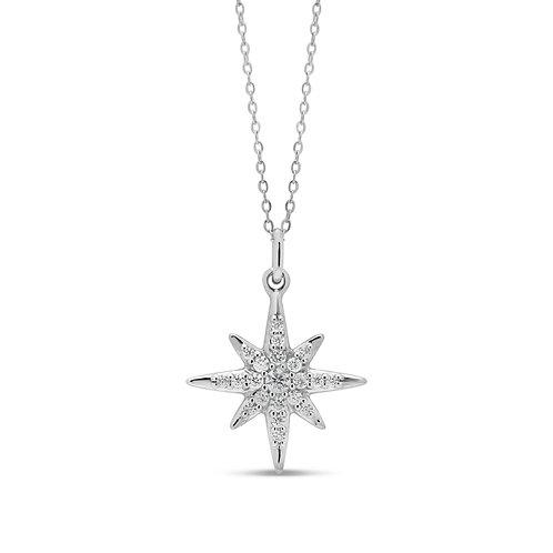 10k WG 0.10ct Diamond North Star Pendant with Chain