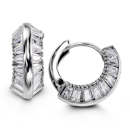 Sterling Silver Fancy Huggies with CZ