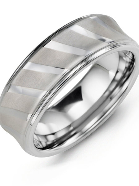 Men's Diagonal Polished Lines Tungsten Wedding Ring
