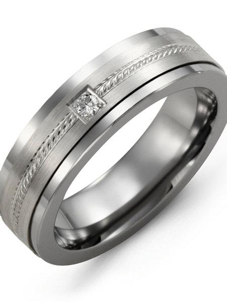 Men's Rope Design Diamond Wedding Band