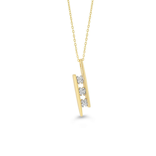 10K YG 0.06CT Diamond Past Present Future Bar Pendant with Chain