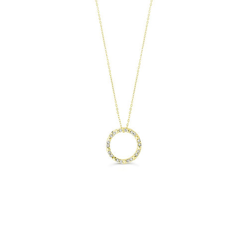 10K YG 0.10CT Diamond Life Circle Pendant with Chain
