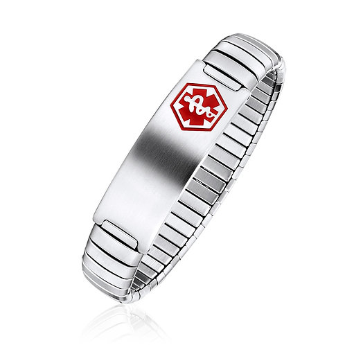 Stainless Steel Medical ID bracelet with expansion strap