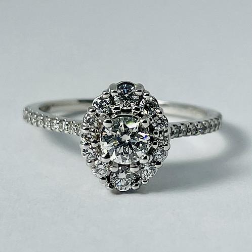 14kt White Gold Diamond Engagement Ring - Vintage