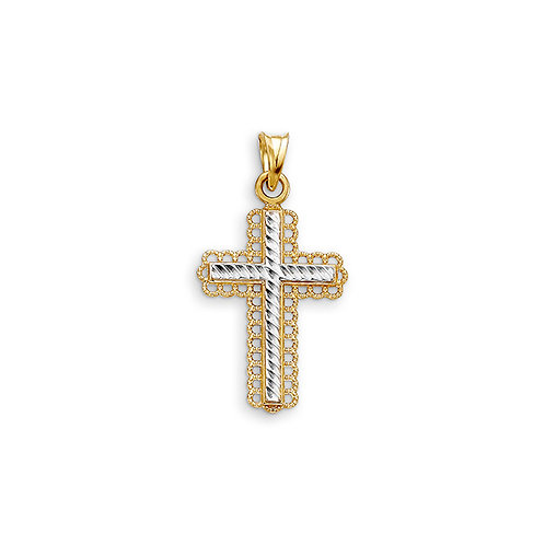 10kt Gold Bella Faith Diamond Cut Filigree Cross