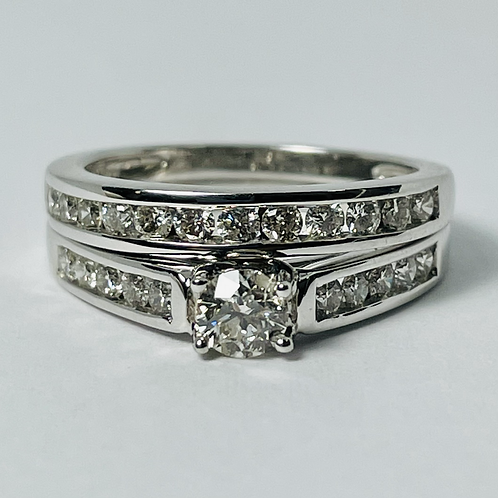 14kt White Gold Diamond Engagement Ring Set