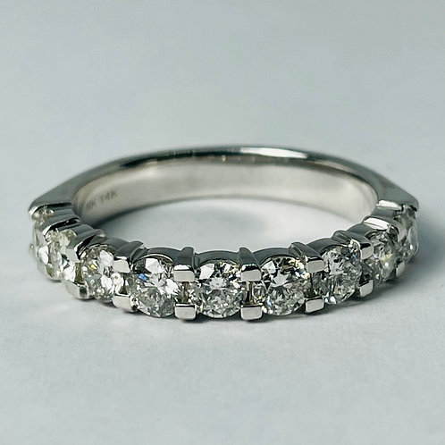 14kt White Gold Diamond Band, Shared Claw
