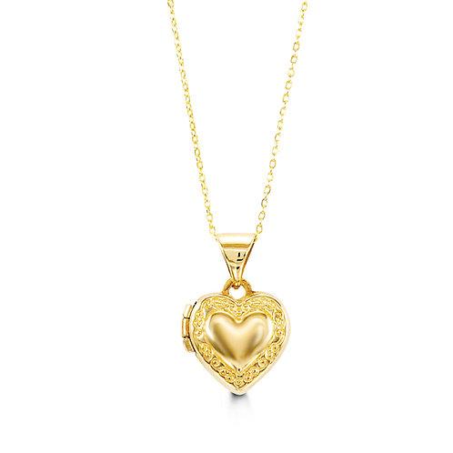 10kt Gold Baby Bella Heart Locket & Chain