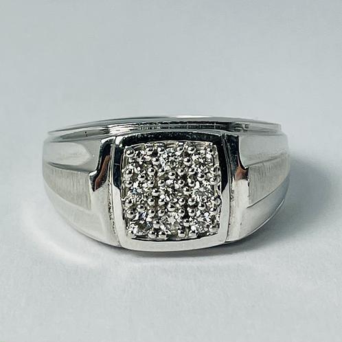 10kt White Gold Diamond Signet Ring 0.27ctw