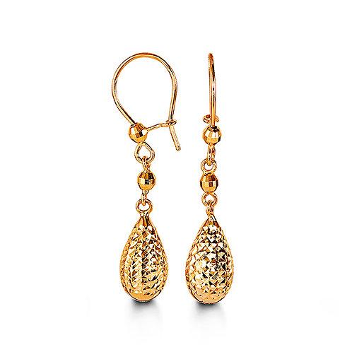 10k gold diamond-cut, tear-shape drop earrings - 1003