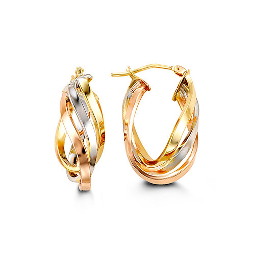 10k tri-colour gold swirl style hoops - 1002