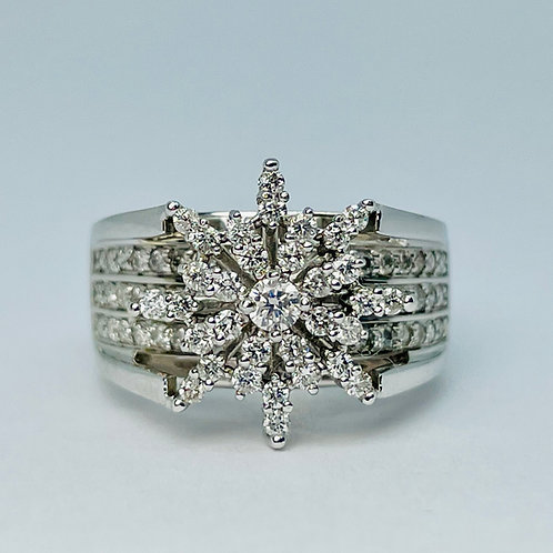 14kt White Gold 1.00ctw Cluster Diamond Ring