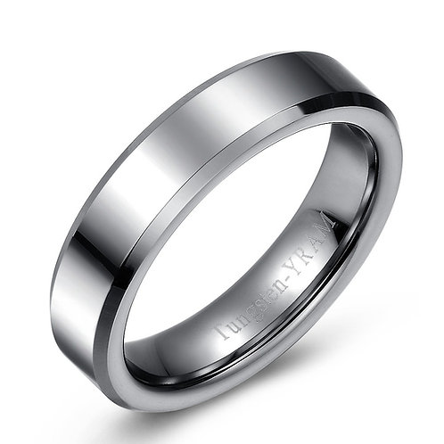 6mm Flat top tungsten band, tapered edges and high polish