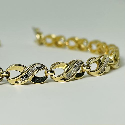 14kt Gold 1.50ctw Diamond Baguette Tennis Bracelet