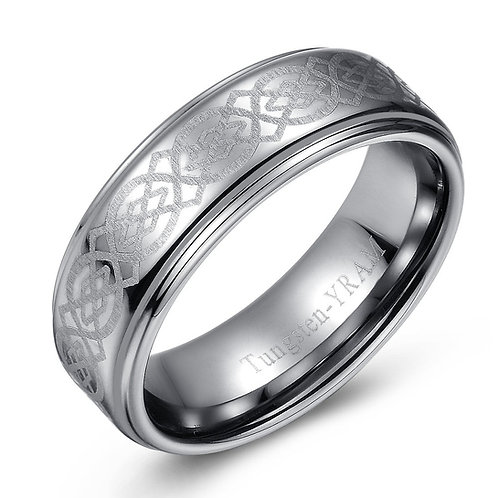 8mm Tungsten band raised centre with Celtic knot pattern