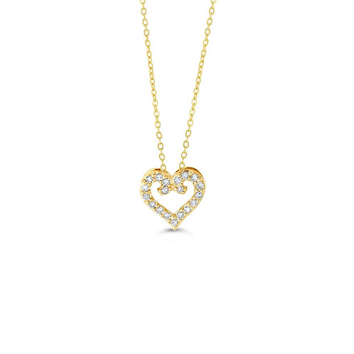 10K YG 0.10CT Diamond Love Heart Pendant with Chain
