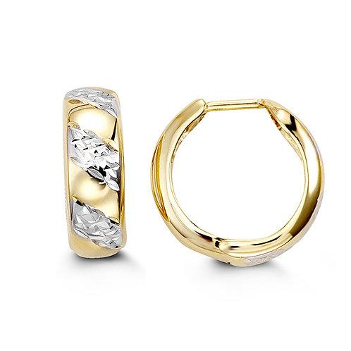 10kt Gold Bella Two-Tone Huggies Earrings