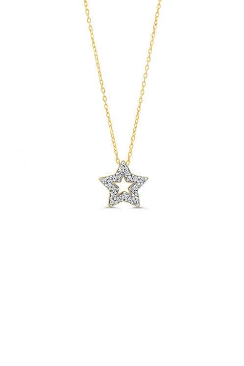 10K YG 0.05CT Diamond Star Pendant with Chain