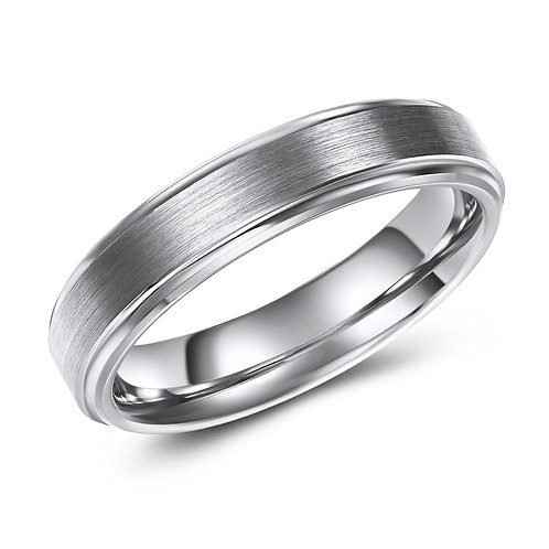 5mm wide tungsten band, raised centre with brushed finish