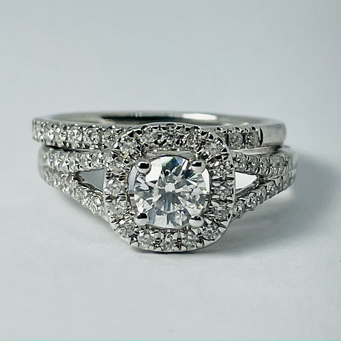 14kt White Gold 1.00ctw Diamond Engagement Ring Set