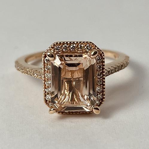 14kt Rose Gold Morganite & Diamond Ring