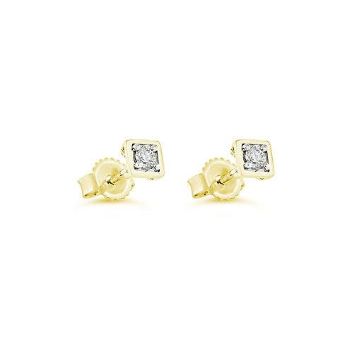 10K YG 0.10CT Diamond Square Stud Earrings
