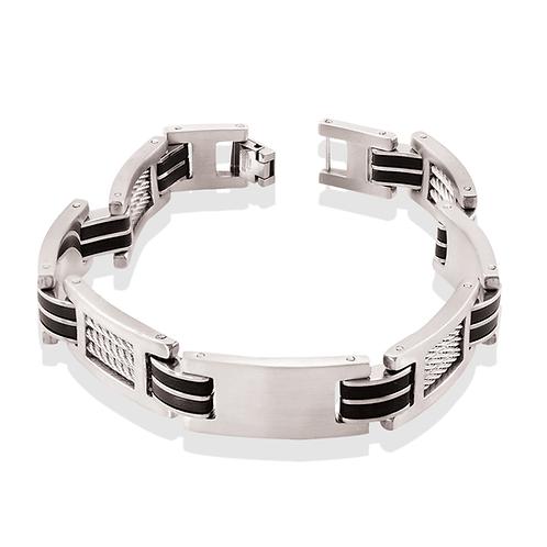 ITALGEM Black Rubber Stainless Steel Cable Mens Bracelet