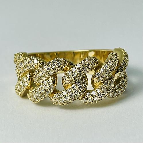 14kt Gold Diamond Miami Ring