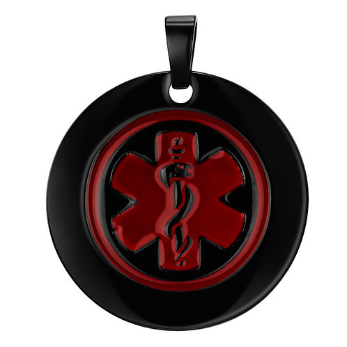 Black plated stainless steel round medicaltag