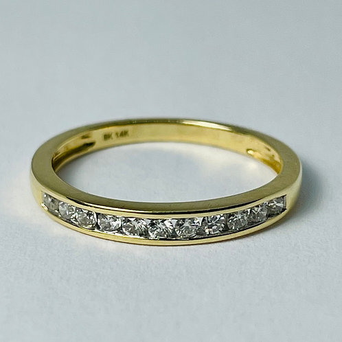14kt Gold Diamond Band, Channel Set 0.25ctw