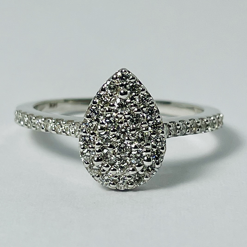 14kt White Gold Pear Shaped Cluster Diamond Engagement Ring
