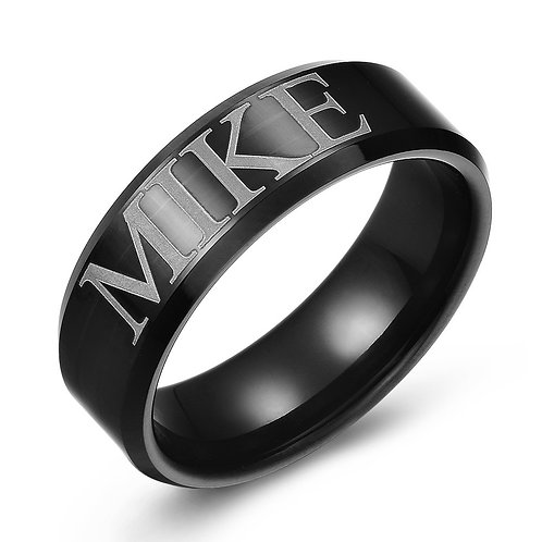 8mm Black tungsten customizable Name band