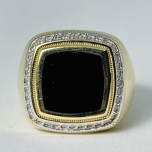 14kt Gold Black Enamel & Diamond Ring
