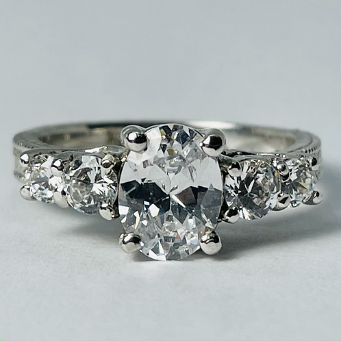 10kt White Gold Oval CZ Ring